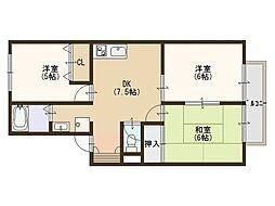 大阪府堺市堺区緑町2丁の賃貸アパートの間取り