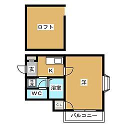 ピュア吉塚 伍番館[1階]の間取り