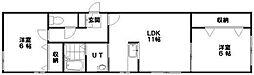 レユシール山鼻南 3階2LDKの間取り