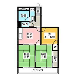 ザ・リバ−ウエスト[4階]の間取り