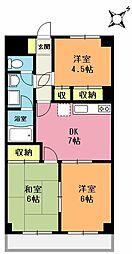 埼玉県上尾市浅間台1丁目の賃貸マンションの間取り