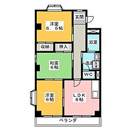 カサ東田面[3階]の間取り