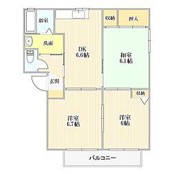 ヴィレッジヒルズ II棟[102号室]の間取り