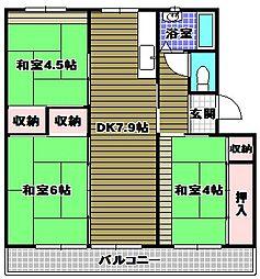 金剛団地[5階]の間取り