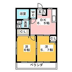 サンコートヴィラ A,B,C,D[1階]の間取り