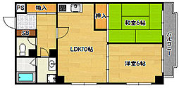 兵庫県神戸市兵庫区塚本通8丁目の賃貸マンションの間取り