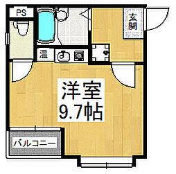 レグレットハマヤI 5階ワンルームの間取り