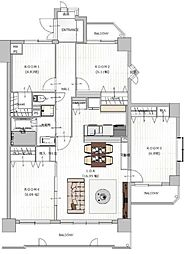家族の部屋と客間も持てる4LDKの間取りです