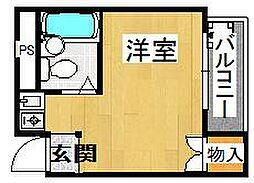 ハイツ日岡[4階]の間取り