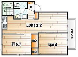 プリムローズ A棟[1階]の間取り