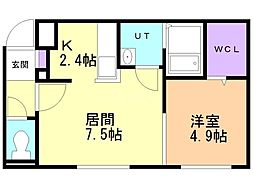メゾン・ド・ソレイユB棟 2階1LDKの間取り