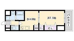 BELLフォレスト鶴見 7階1DKの間取り