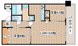 JR東海道・山陽本線 三ノ宮駅 徒歩8分の賃貸マンション 7階2LDKの間取り