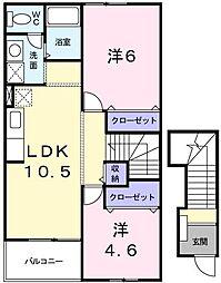 東京都小金井市貫井南町1丁目の賃貸アパートの間取り