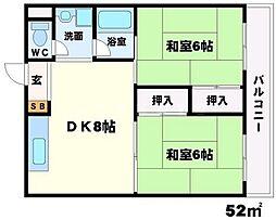 サン春日第1マンション[2階]の間取り