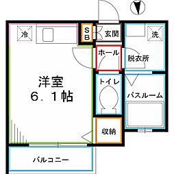 JR中央本線 国分寺駅 徒歩12分の賃貸アパート 3階ワンルームの間取り