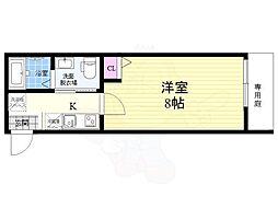 京都地下鉄東西線 二条駅 徒歩17分の賃貸マンション 1階1Kの間取り