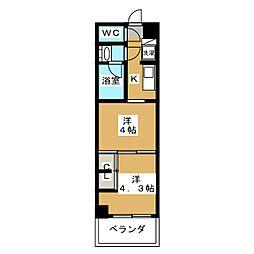 グランド・ガーラ東大島 13階2Kの間取り