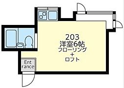 コーポラス三ツ沢[203号室]の間取り