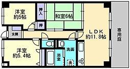 愛媛県松山市古川北3丁目の賃貸マンションの間取り