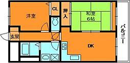 奈良県北葛城郡河合町中山台2丁目の賃貸マンションの間取り