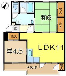別所アパートメントC棟[4階]の間取り