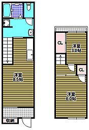 [テラスハウス] 大阪府富田林市本町 の賃貸【/】の間取り