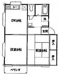 神奈川県大和市中央の賃貸アパートの間取り