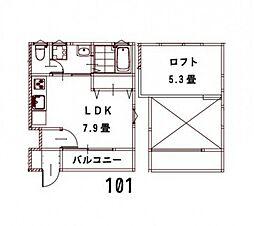 JR山陽本線 五日市駅 徒歩20分の賃貸アパート 1階ワンルームの間取り