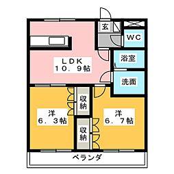 サニーハウス南B[1階]の間取り