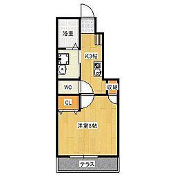 JR山陽本線 東岡山駅 徒歩9分の賃貸アパート 1階1Kの間取り