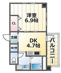 第16関根マンション 4階1DKの間取り