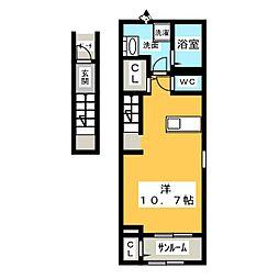シャローム元中野 2階1Kの間取り