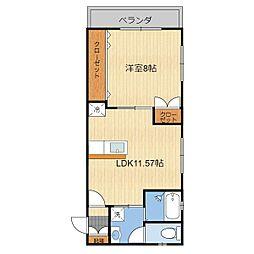 (仮)T様共同住宅(301) 3階1LDKの間取り