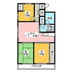 フォレスト一宮[3階]の間取り
