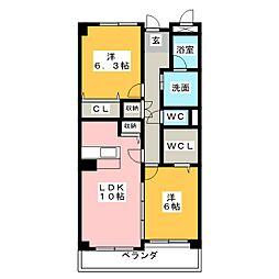 ウィンコート篠原[3階]の間取り