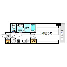JR大阪環状線 京橋駅 徒歩8分の賃貸マンション 2階1Kの間取り