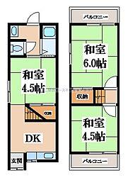 [テラスハウス] 大阪府東大阪市布市町1丁目 の賃貸【/】の間取り