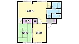 兵庫県三木市上の丸町の賃貸アパートの間取り