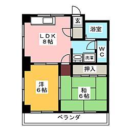 レインボー桜井B棟[2階]の間取り