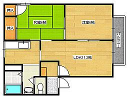 フレグランス西霞 B棟[2階]の間取り