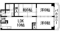 兵庫県宝塚市亀井町の賃貸マンションの間取り