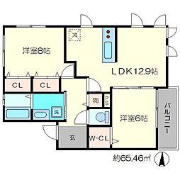 ビューハイツA[1階]の間取り