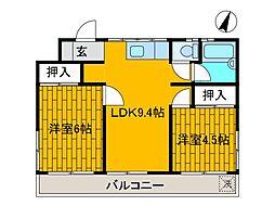 野村レヂデンス[3階]の間取り