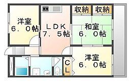 広島県福山市引野町4丁目の賃貸マンションの間取り
