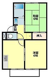 愛知県岡崎市東蔵前2丁目の賃貸アパートの間取り