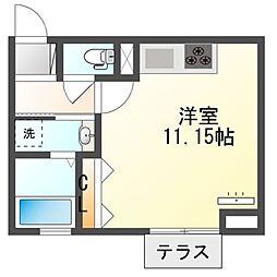 JR内房線 袖ヶ浦駅 徒歩10分の賃貸アパート 1階ワンルームの間取り