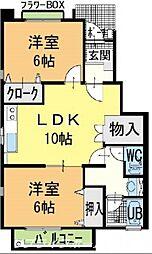 徳島県板野郡藍住町勝瑞字正喜地の賃貸アパートの間取り