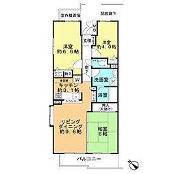 サンライトシティ松原壱番館[13階]の間取り