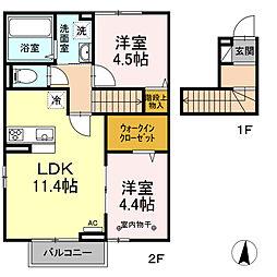 Haru Haru II 2階2LDKの間取り